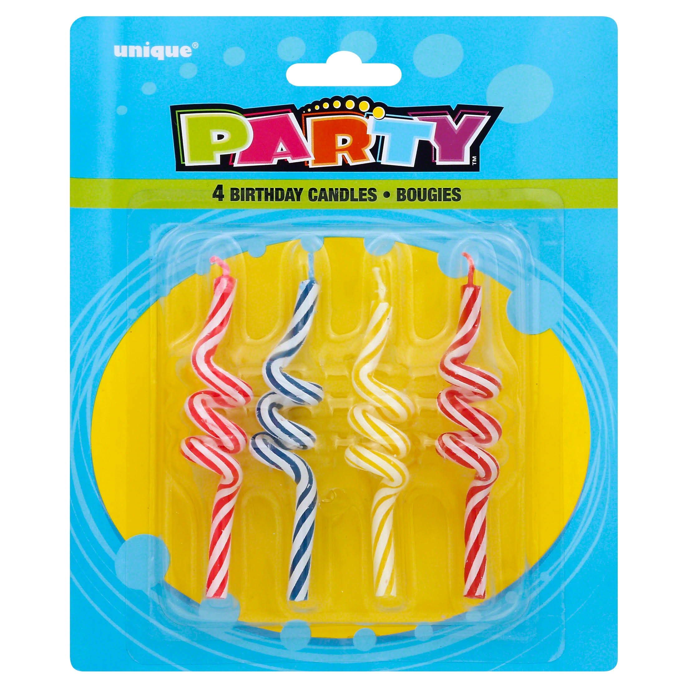 Unique Striped Coil Birthday Candles - 4ct