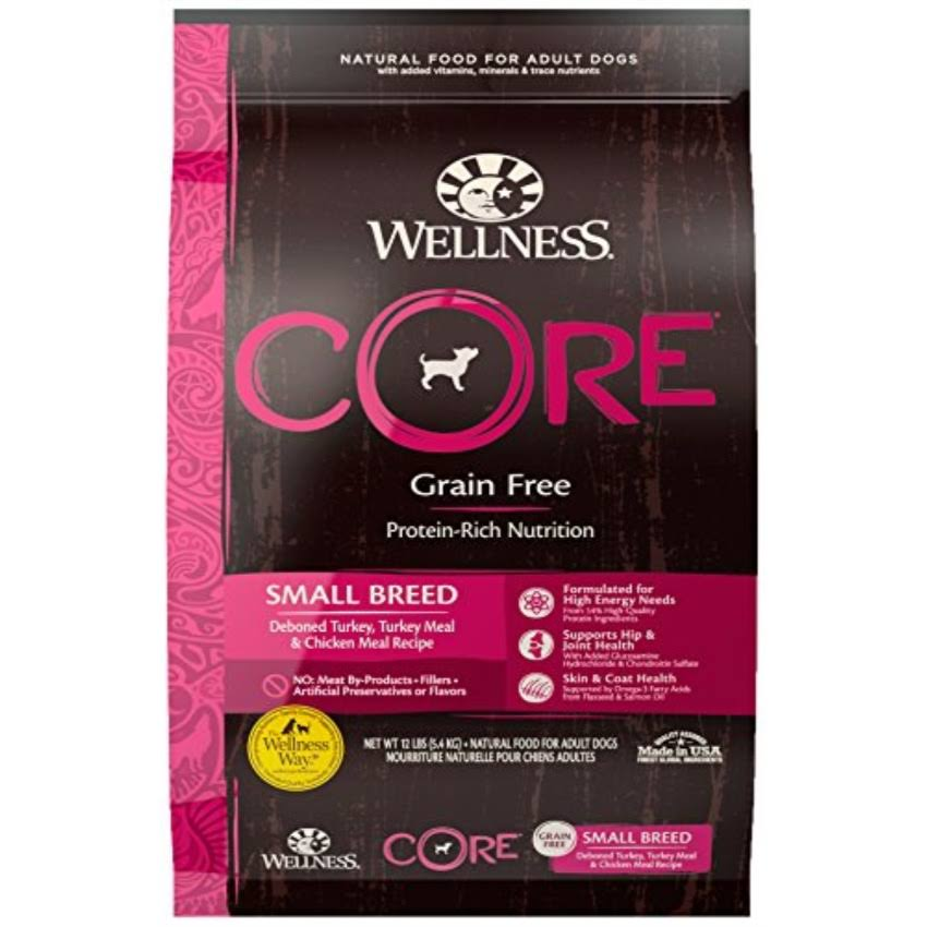 Wellness Core Grain Free Small Breed Turkey and Chicken Natural Dry Dog Food - 12lb