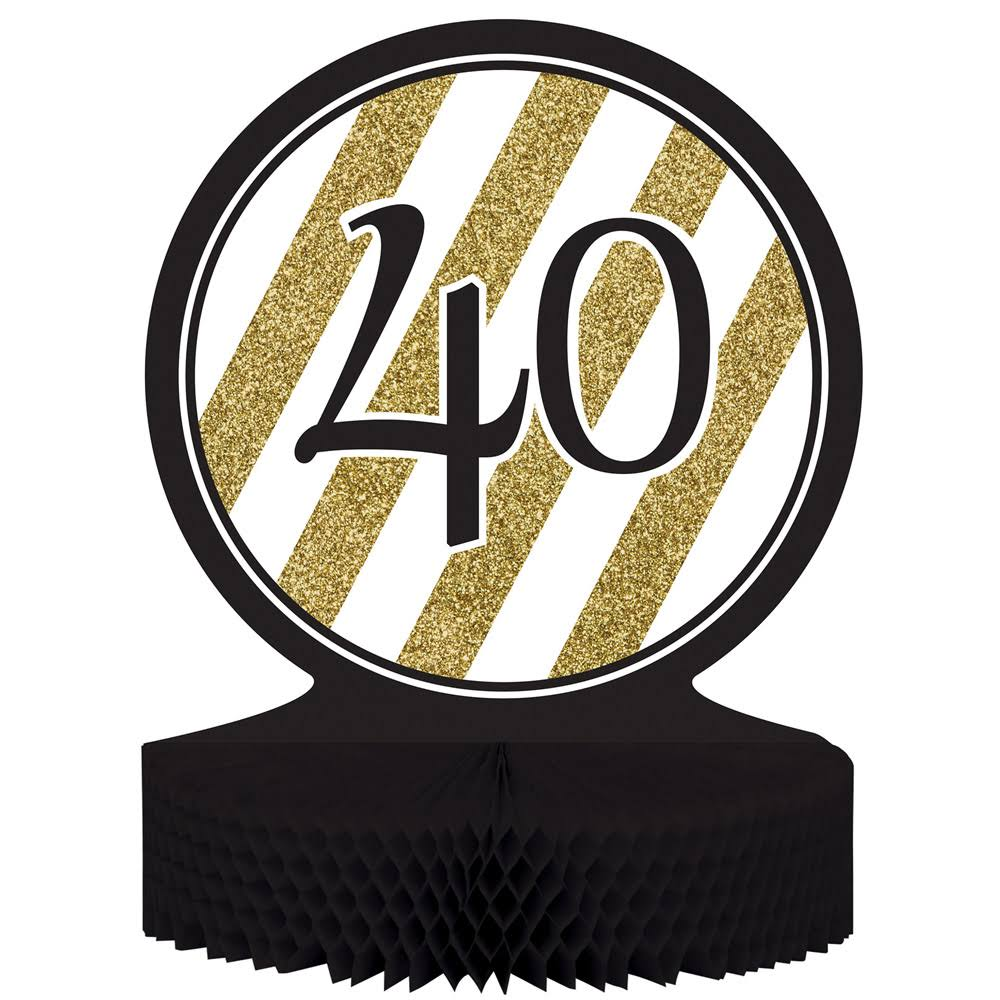 Creative Converting 40th Birthday Honeycomb Centerpiece - Black & Gold