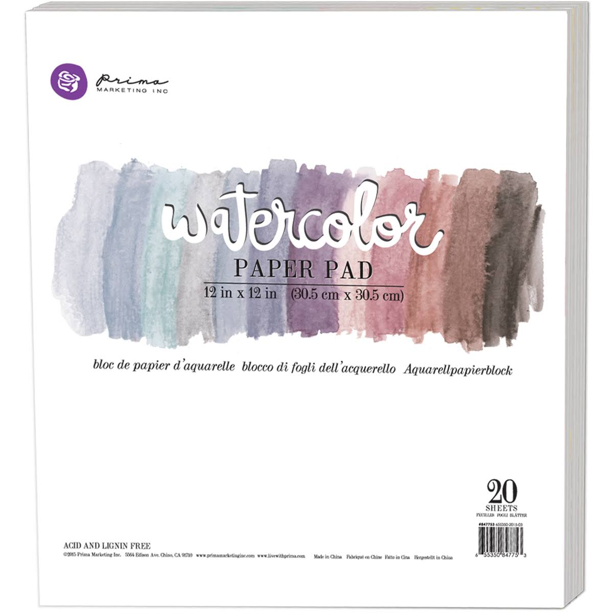 "Prima Marketing Watercolor Cold Press Paper Pad - 12"" x 12"", 20pk"