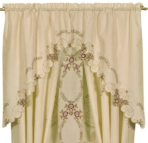 "Today's Curtain Verona 38"" Swag Pair, Ecru Rose"