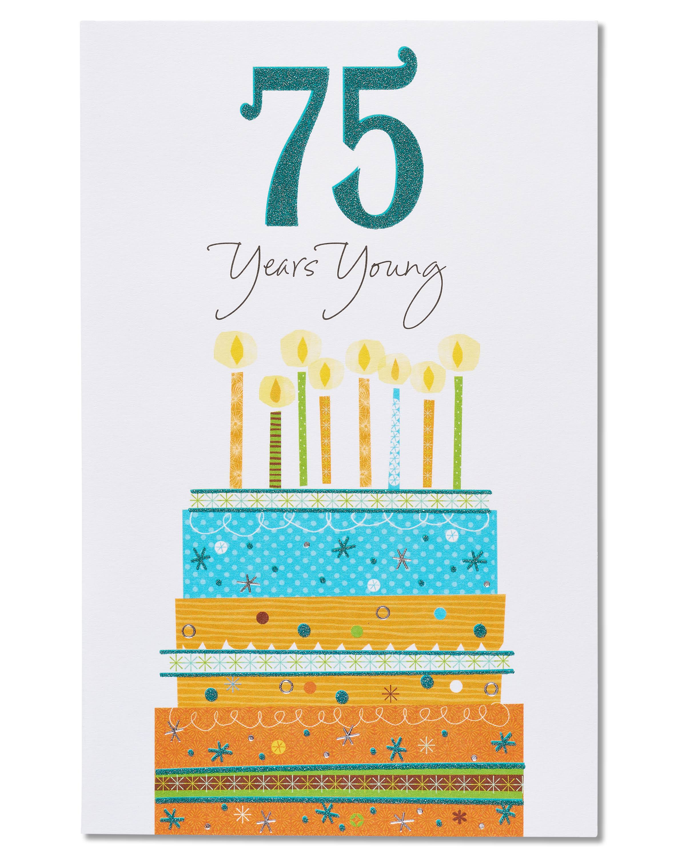 American Greetings 75 Years Young Birthday Card with Glitter
