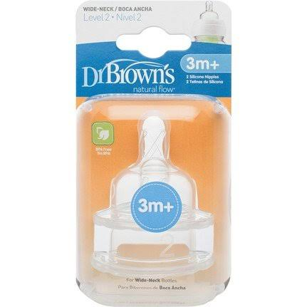 Dr Browns Level 2 Options Wide Necked Teats 3m Plus Baby Bottle Feeding - 3 Months Plus