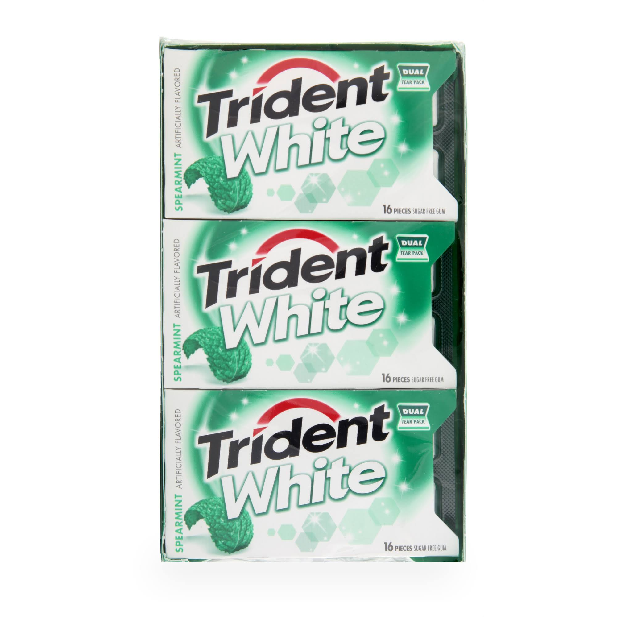 Trident White Spearmint Sugar Free Gum - 16pcs, 9pk