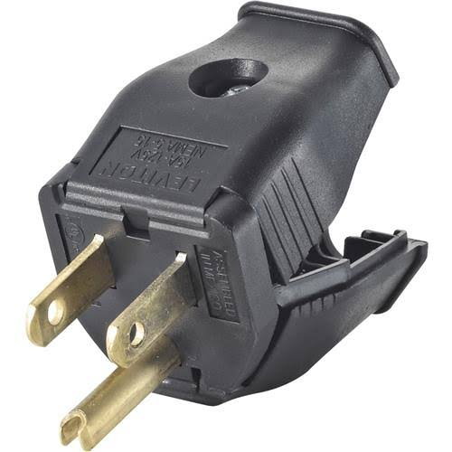 Leviton 2-Pole 3-Wire Grounding Plug - Black