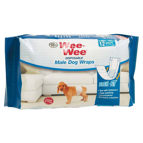 Wee Wee Disposable Male Dog Wraps - X-Small/Small, 12ct