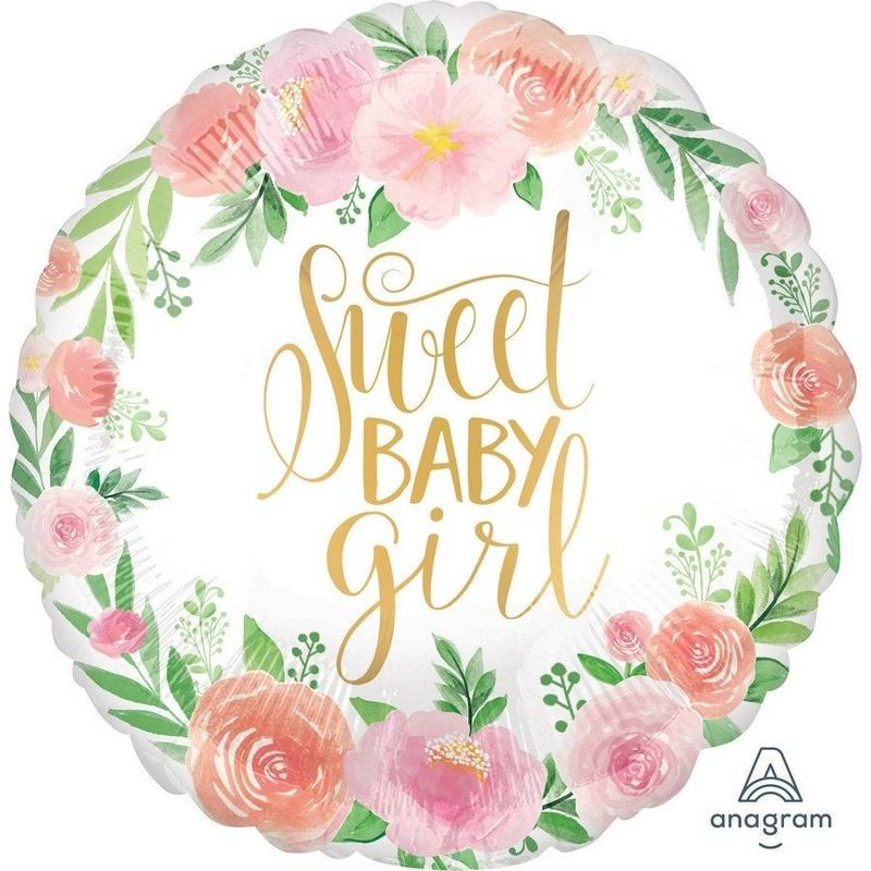 Floral Baby Girl Foil Balloon