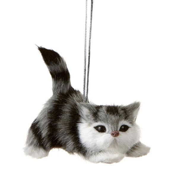 Grey and White Cat Christmas Ornament Midwest-CBK