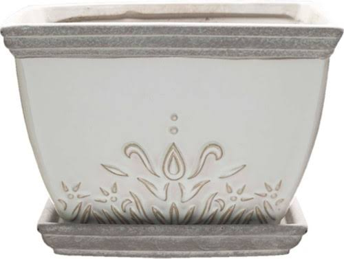 Southern Patio-Clayworks Brentwood Planter Square- White 6 inch (Case of 4 )