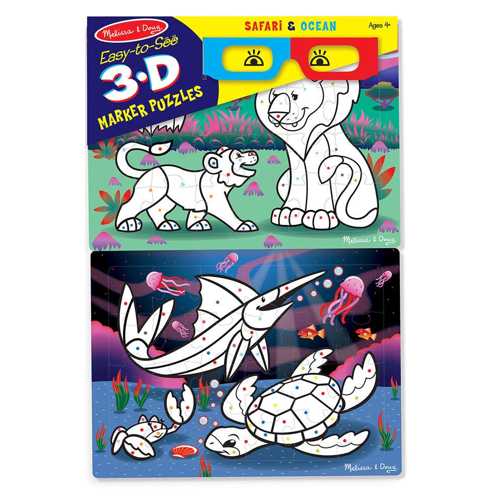Melissa & Doug - Easy-to-See 3D Marker Coloring Puzzles - Safari/Ocean