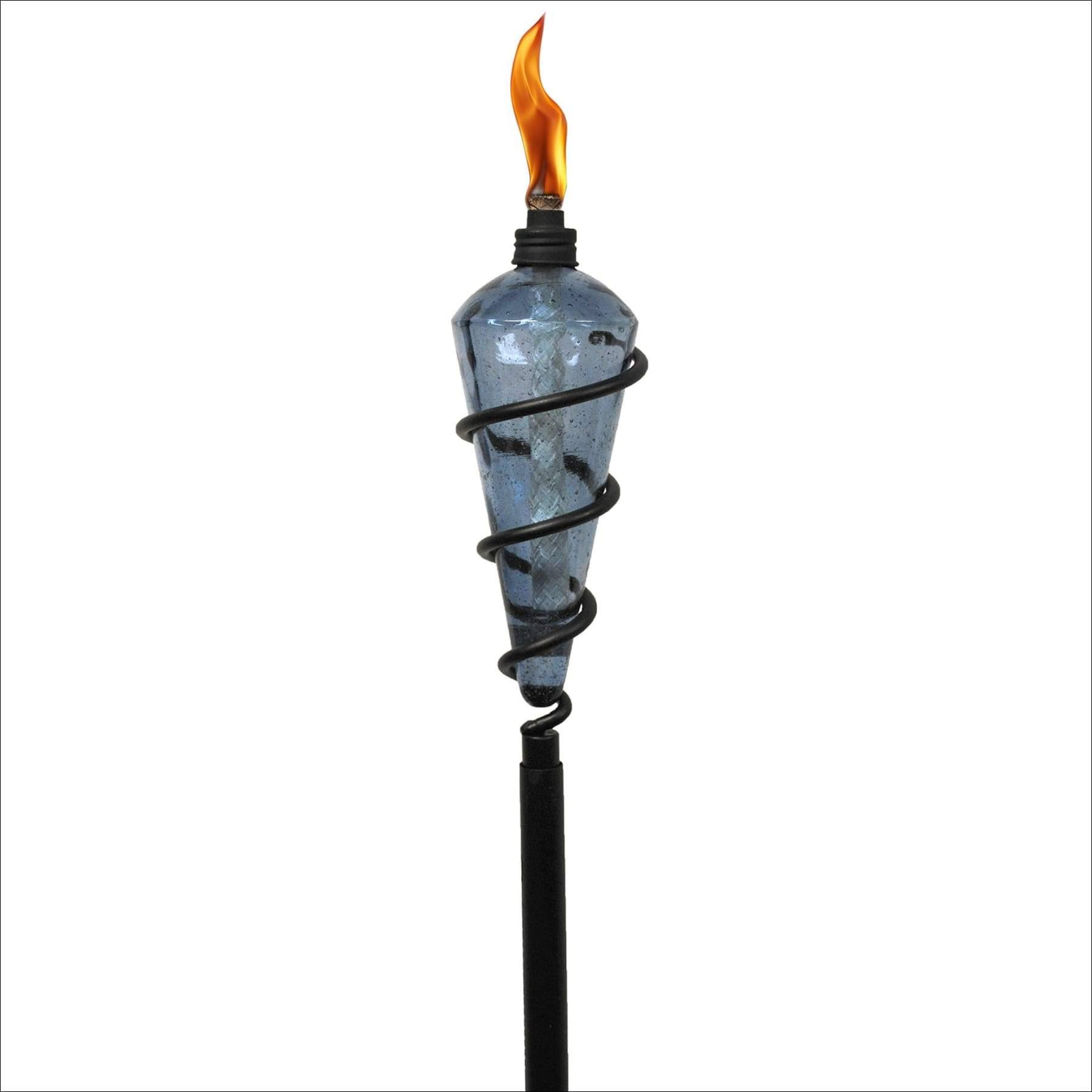 "Tiki Brand 1116079 64"" Swirl Metal Torch with Bubble Glass Head, Blue"