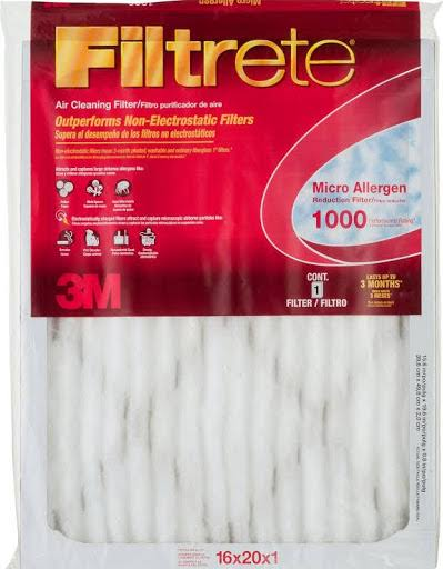 "3m Air Filter Electrostatic - Micro Allergen, 16"" X 20"" X 1"", Pleated, 1000 Mpr"