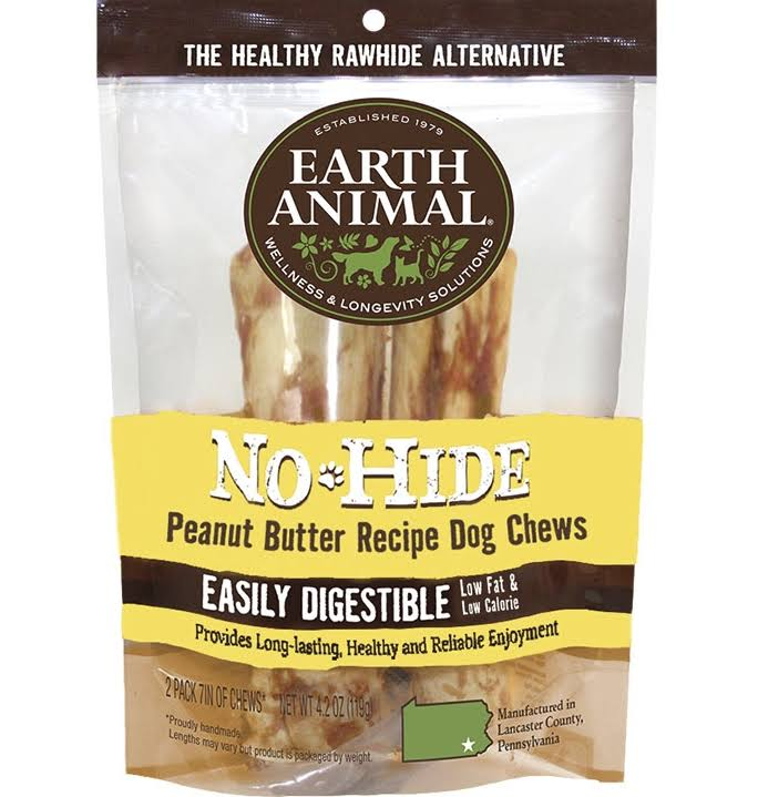 Earth Animal No Hide Peanut Butter Dog Chew 7 inch, 2 Pack