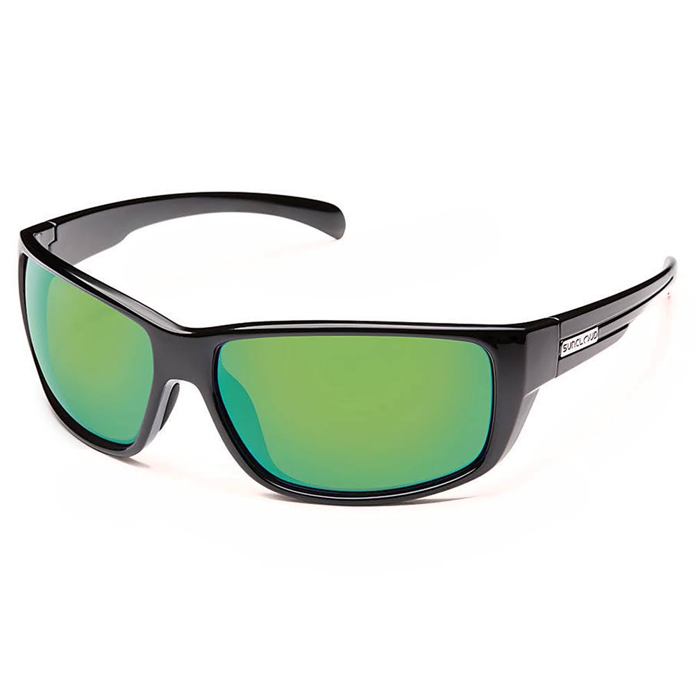 Suncloud Milestone Sunglasses - Black Frame, Polarized Green Mirror