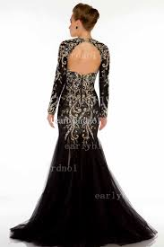 2016 long sleeve luxury evening dresses major beading mermaid