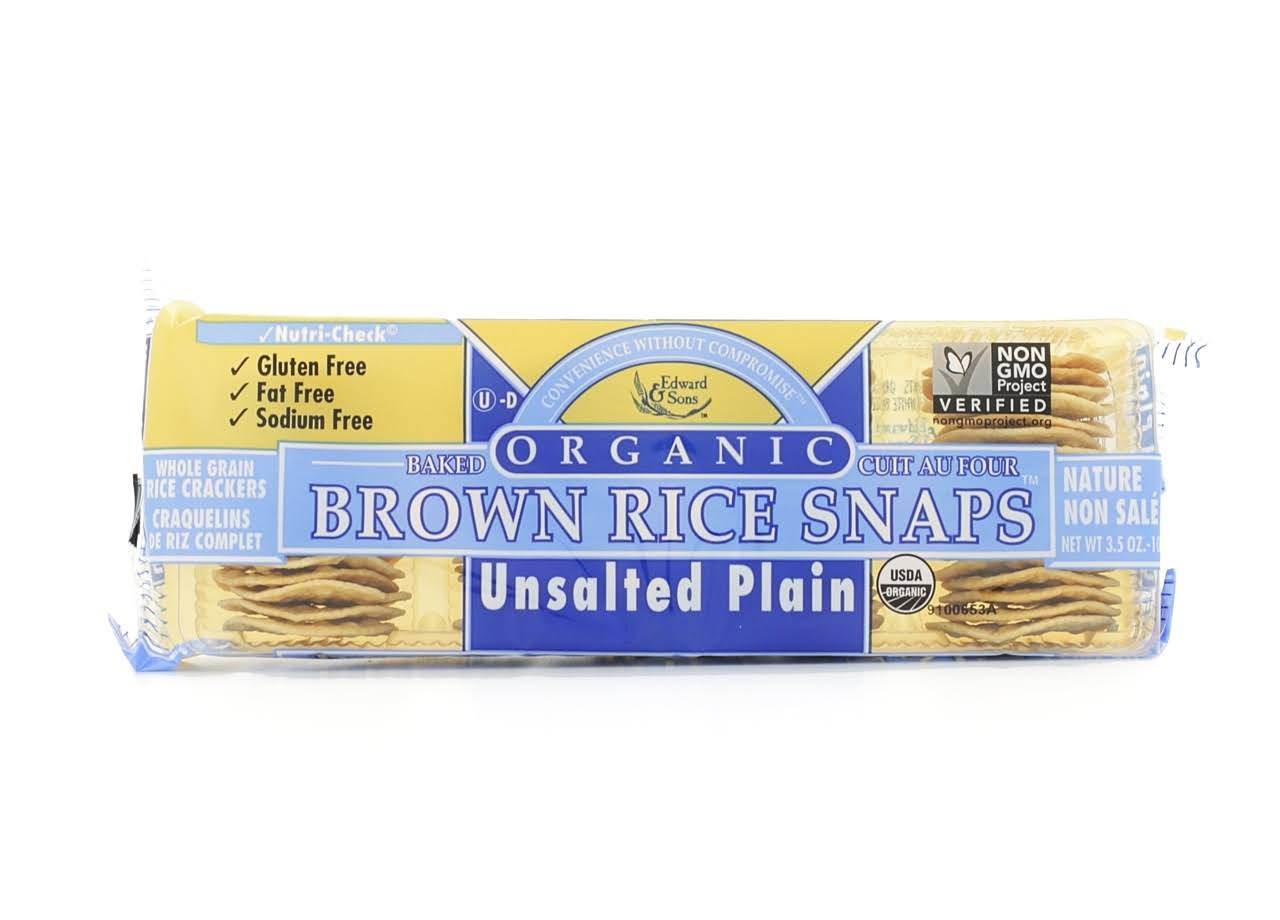 Edward & Sons Organic Plain Unsalted Brown Rice Snaps