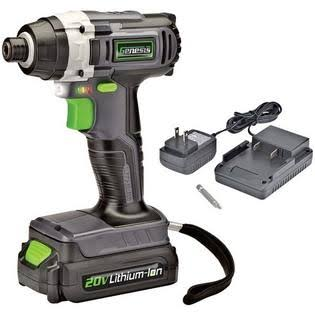 Genesis Lithium Ion Cordless Impact Driver - Grey, Black and Green, 20V