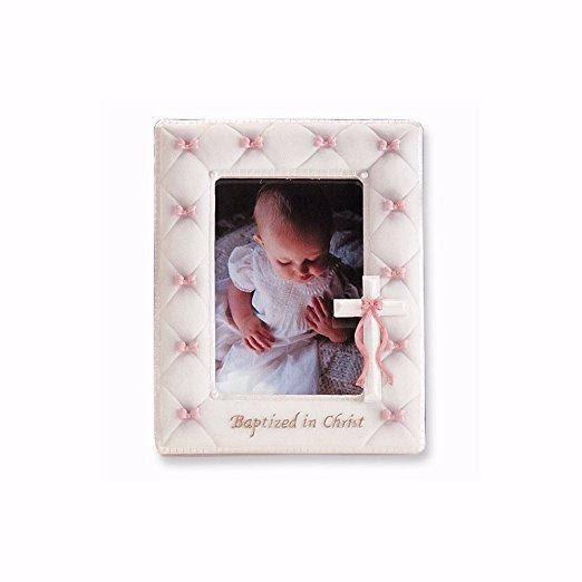 Roman Baptism Photo Frame Baptized in Christ - Pink Baby Girl, 7""