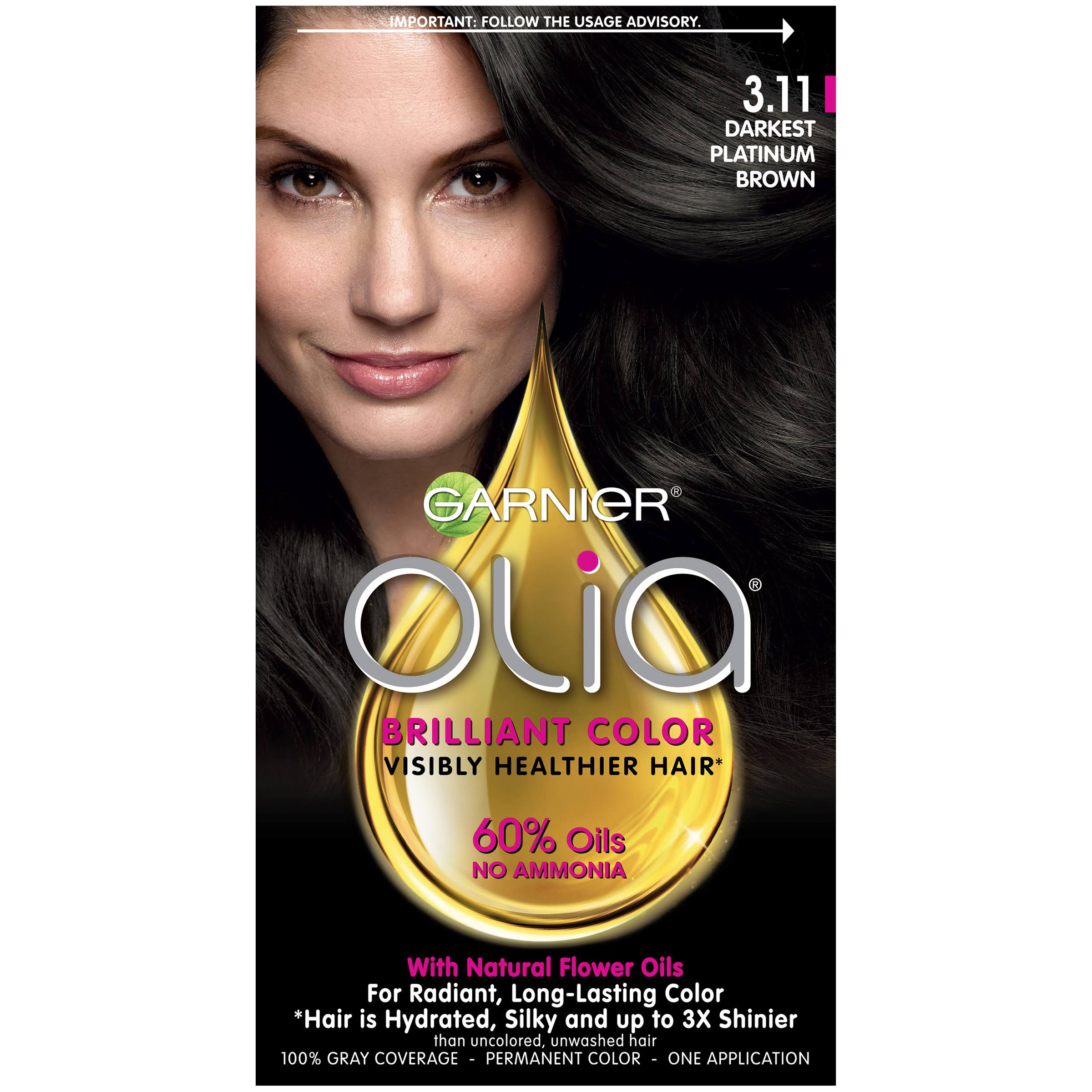 Garnier Olia Oil Powered Permanent Hair Color - 3.11 Darkest Platinum Brown