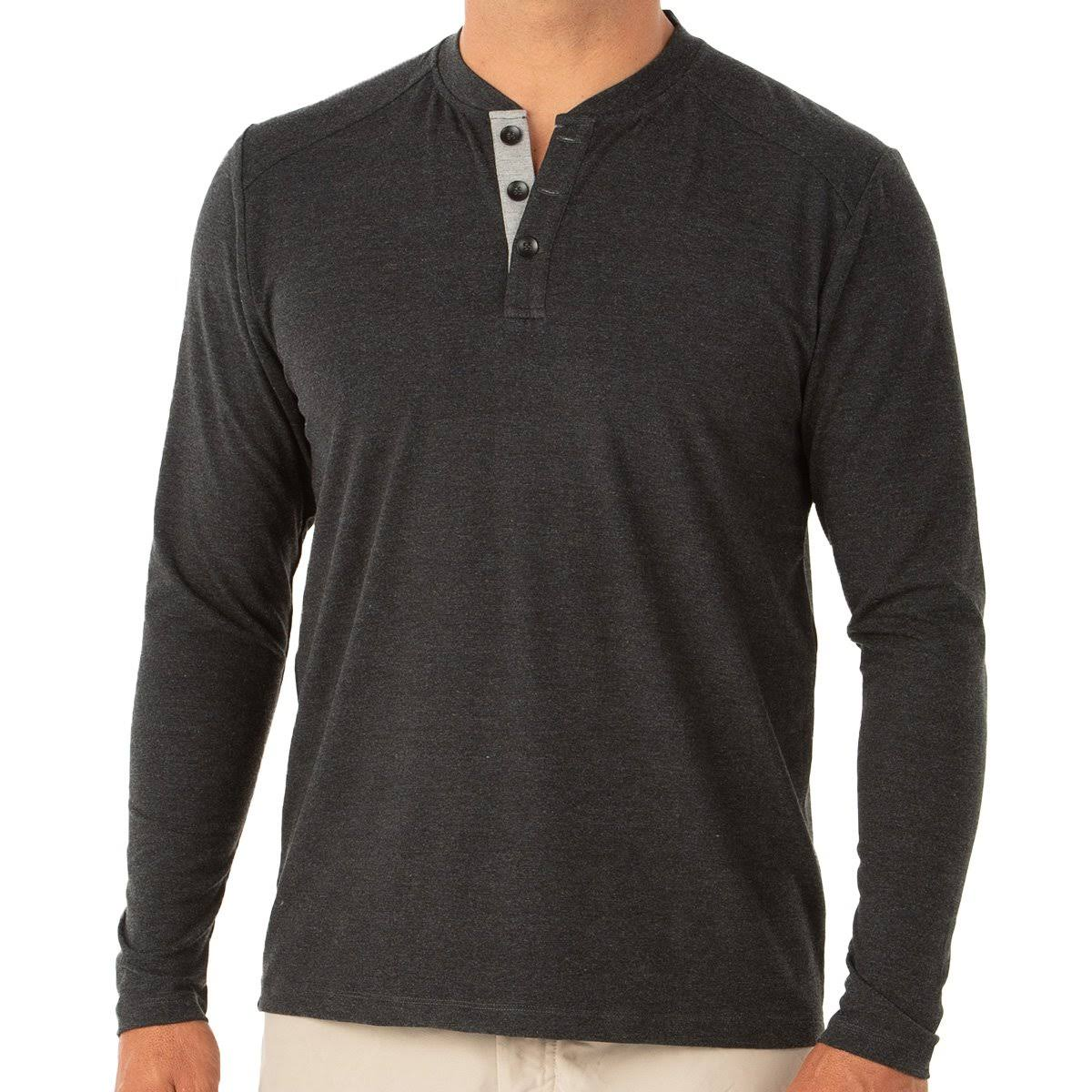 Free Fly Men's Bamboo Flex Henley Shirt Heather Black / M