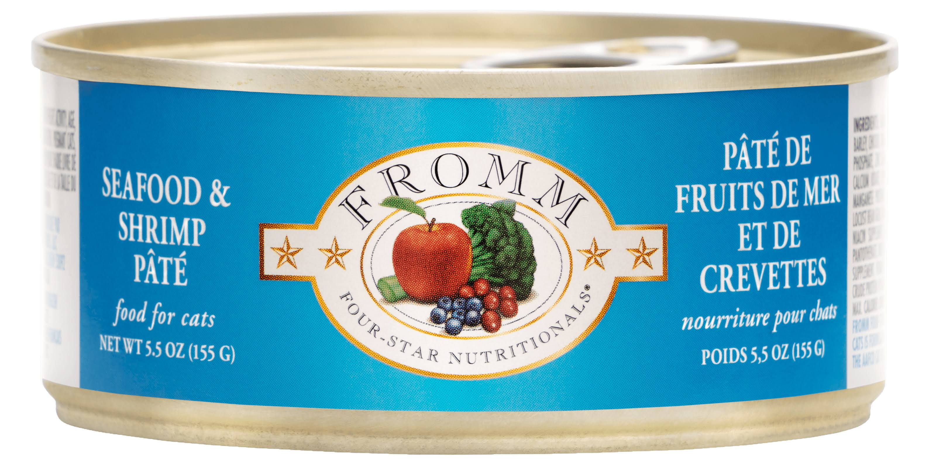 Fromm Four Star Seafood and Shrimp Pate Canned Cat Food, 5.5 oz.