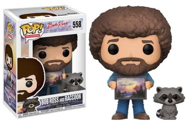 Funko Pop TV The Joy of Painting Vinyl Figurine - Bob Ross and Raccoon, 10cm