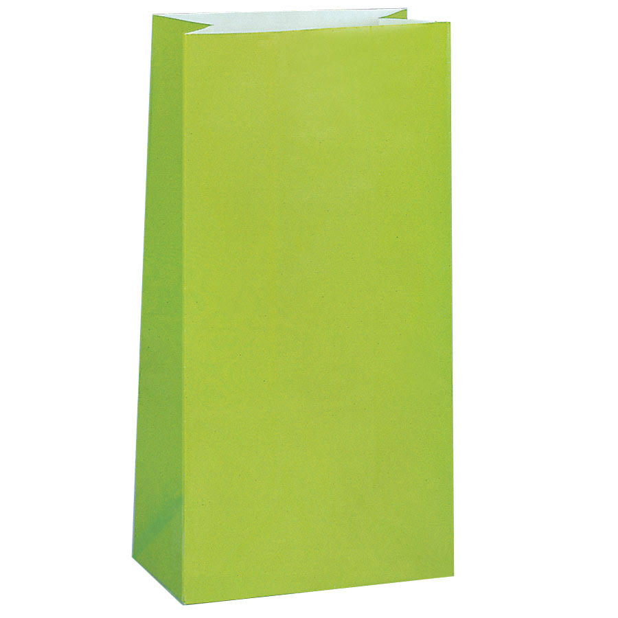 Lime Green Paper Party Favor Bags - Lime Green