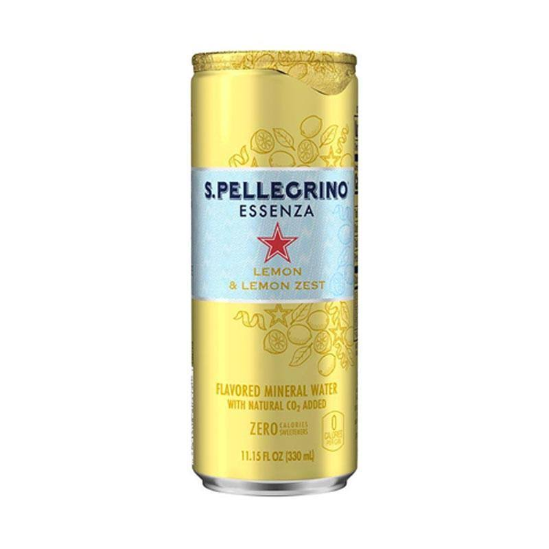 San Pellegrino Essenza Flavored Mineral Water, with Natural CO2 Added, Lemon & Lemon Zest - 11.15 fl oz