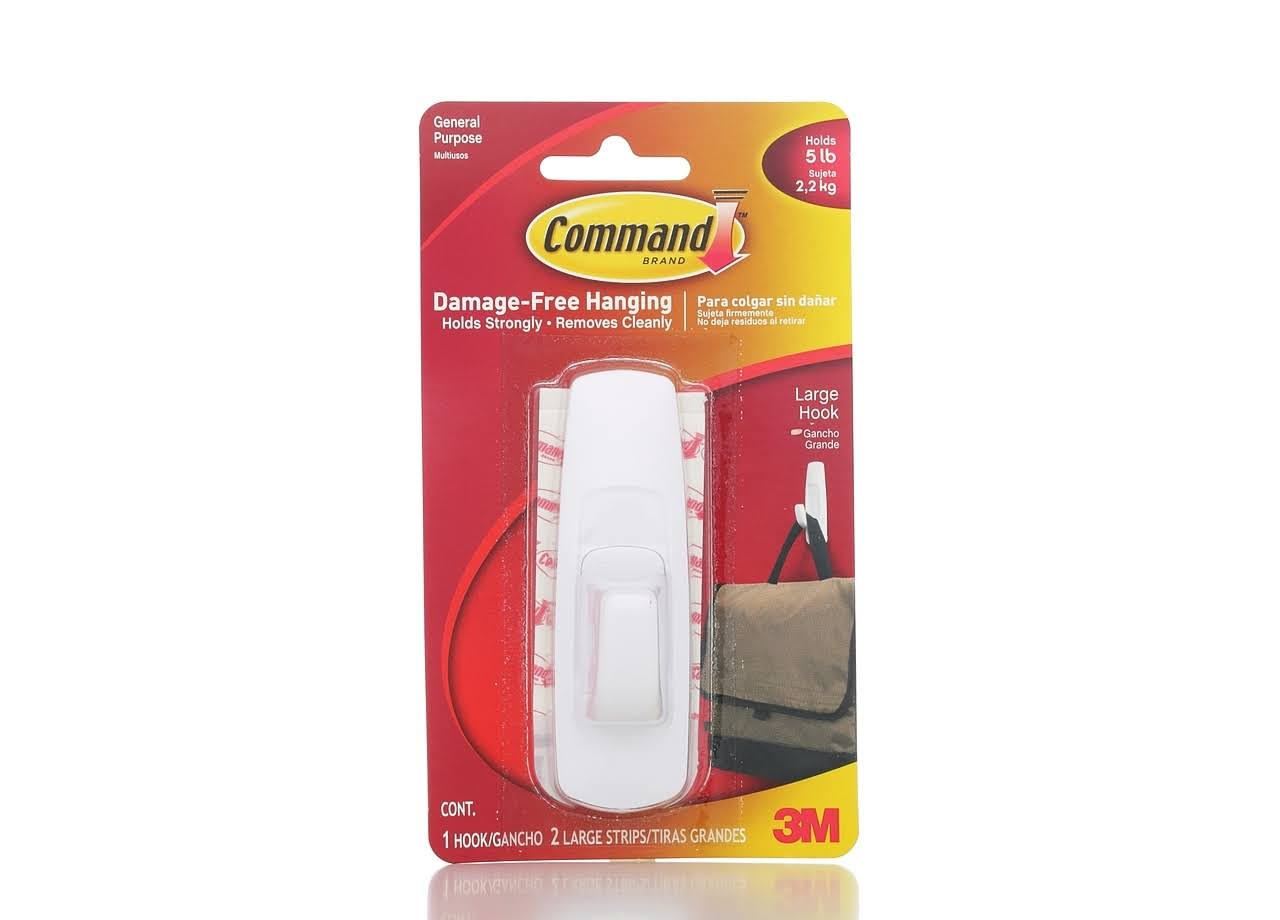 Command General Purpose 5lb Capacity Hooks - White, 1 Hook & 2 Strips/Pack
