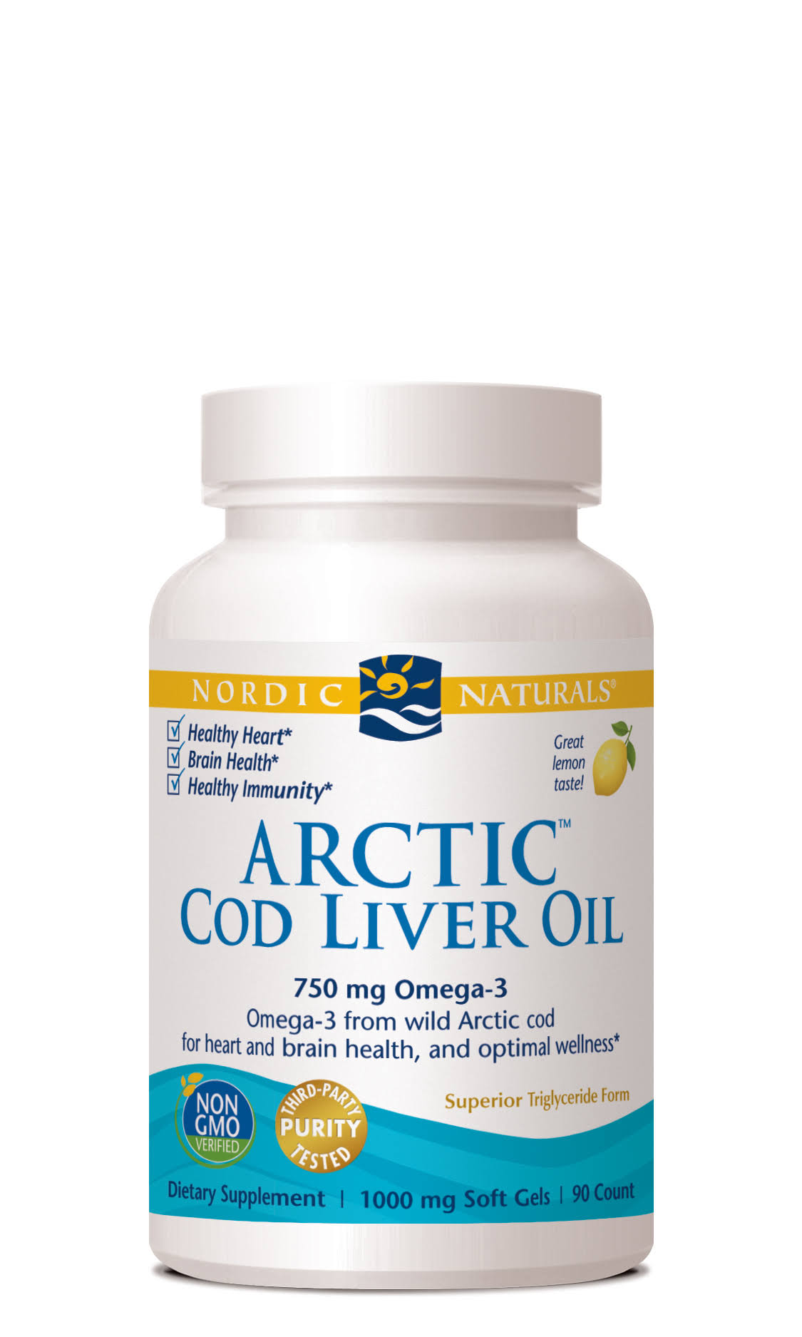 Nordic Naturals Arctic Cod Liver Oil, Lemon, 1000 mg Softgels - 90 count