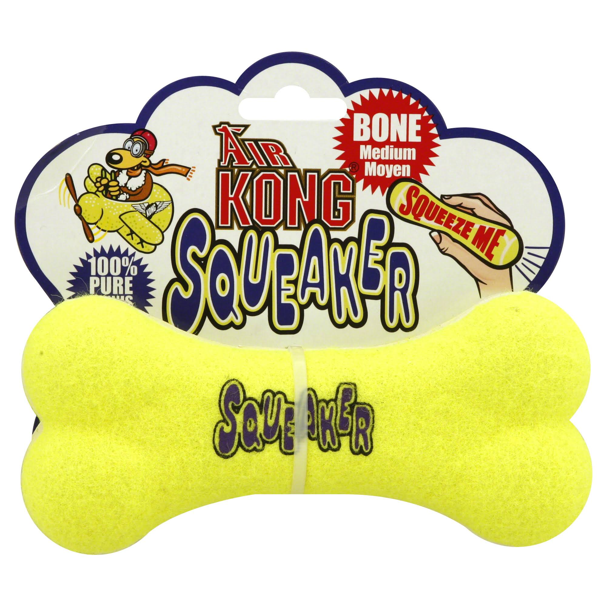 Kong Air Dog Squeaker Bone Dog Toy - Yellow, Medium
