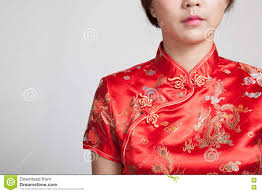 close up of asian in chinese cheongsam dress stock photo