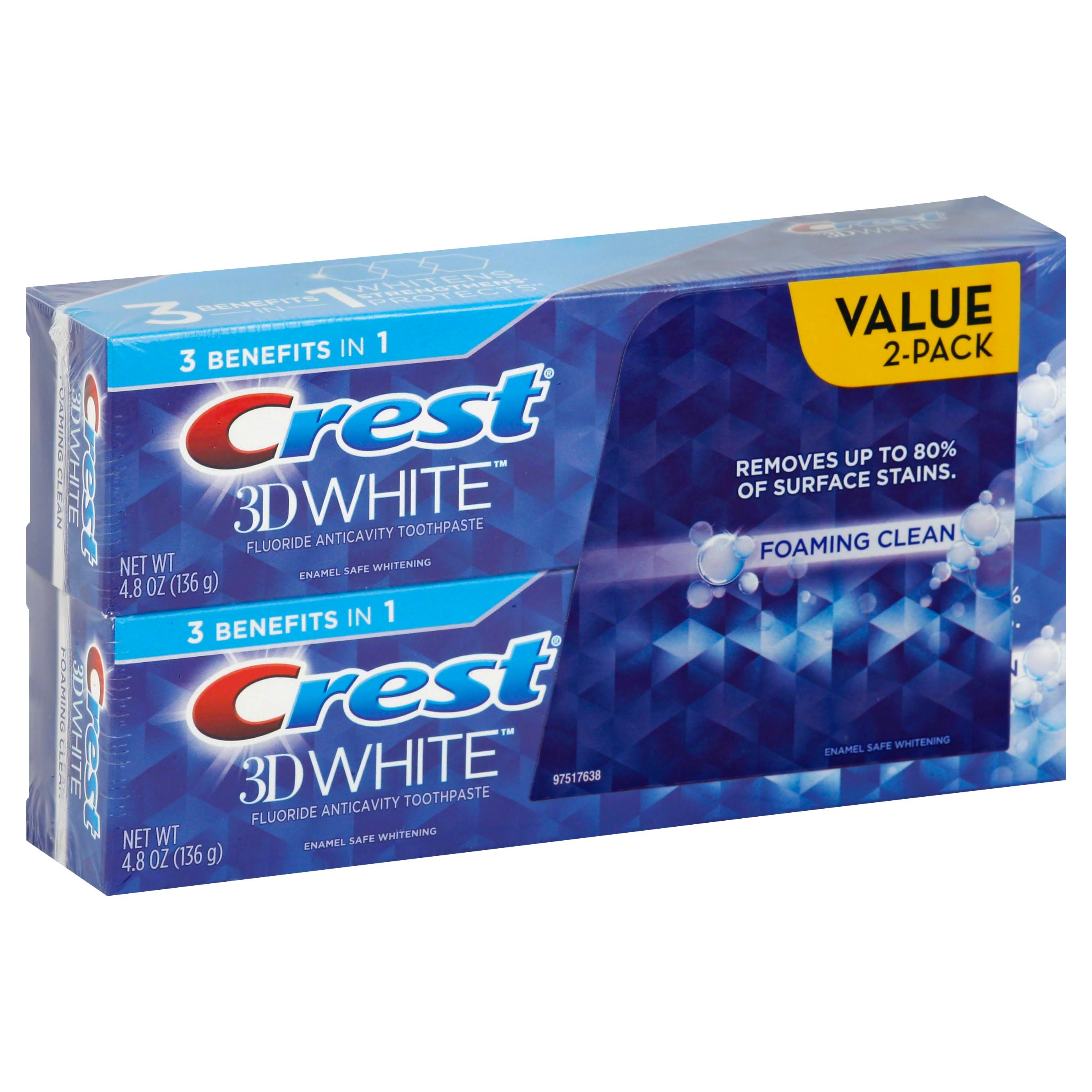 Crest 3D White 3 Benefits in 1 Foaming Clean Fluoride Anticavity Toothpaste - 4.8oz, 2ct