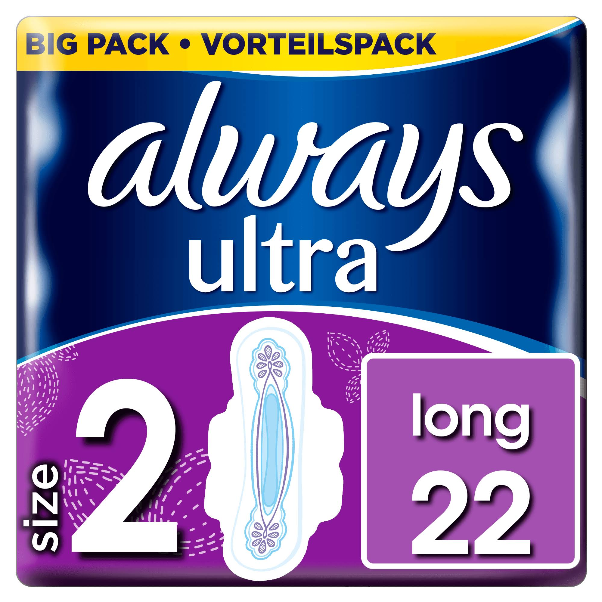 Always Ultra Long Sanitary Napkin - with Wings, 22 Pads
