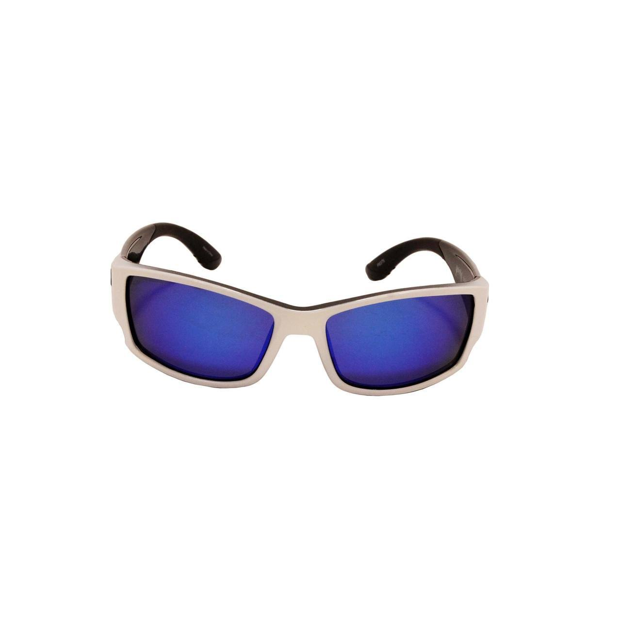 Strike King SK Plus Ouachita Sunglasses - Shiny White Frame, Blue Mirror Lens