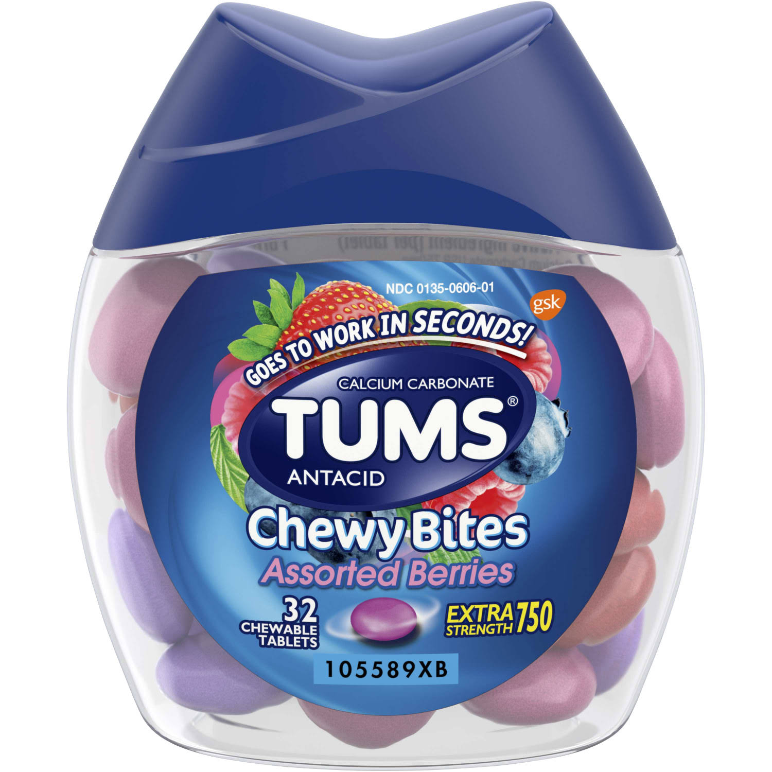 Gsk Tums Calcium Carbonate Antacid Chewy Bites - Assorted Berries, 32 Chewable Tablets