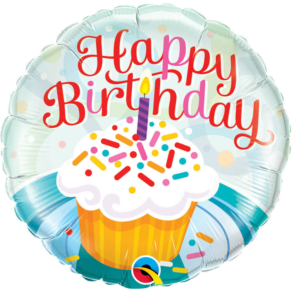 Qualatex Round Birthday Foil Balloon - Cupcake and Sprinkles, 18""