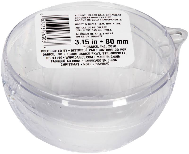 Darice Clear Plastic Acrylic Fillable Ball Ornament - 80mm
