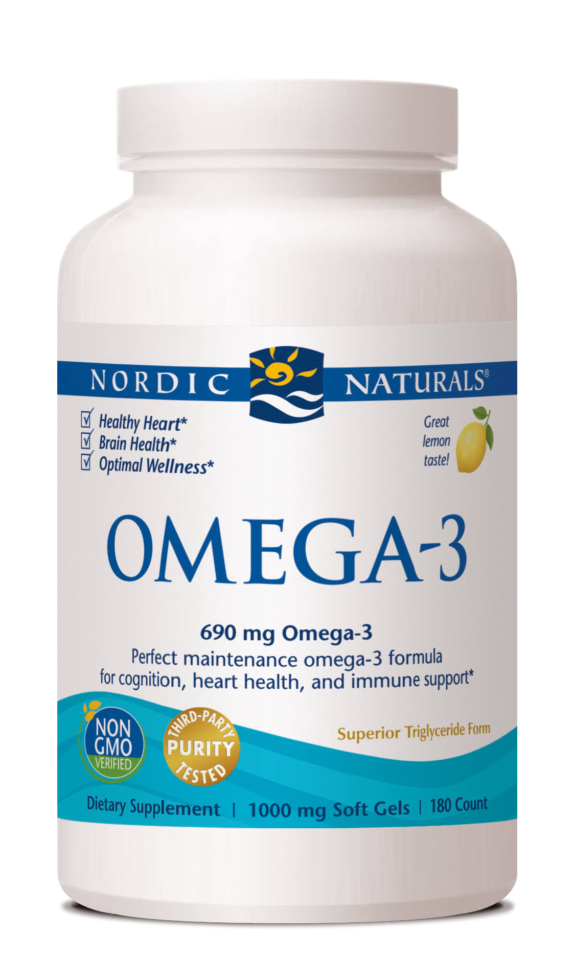Nordic Naturals Omega 3 Purified Fish Oil with Lemon - 180 Soft Gels