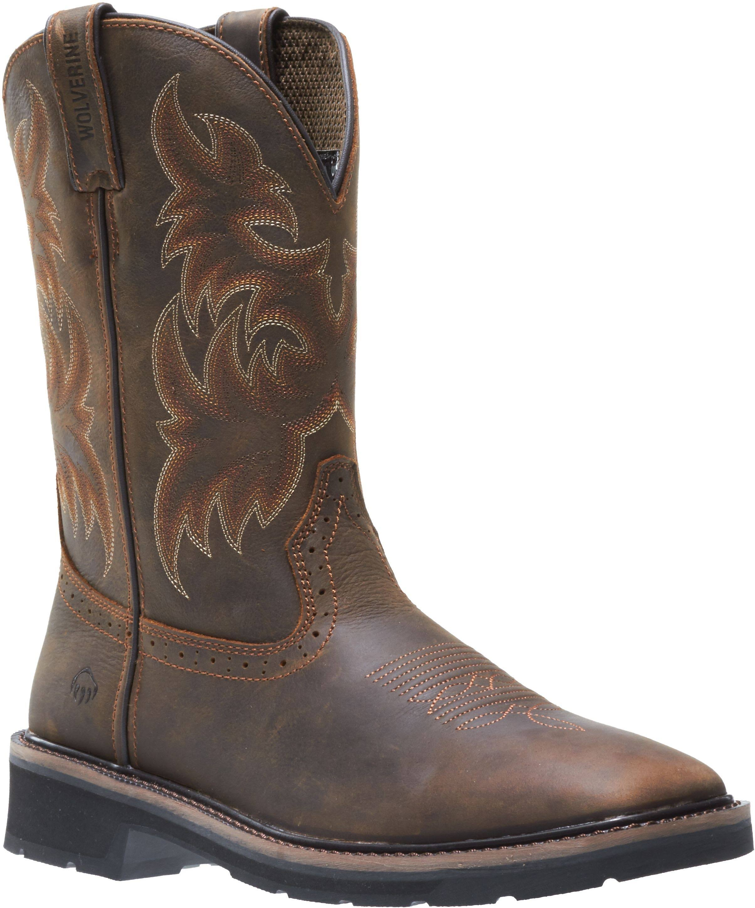 Wolverine Mens Rancher Wellington Steel Toe Work Boot - Brown, Medium, 11 US