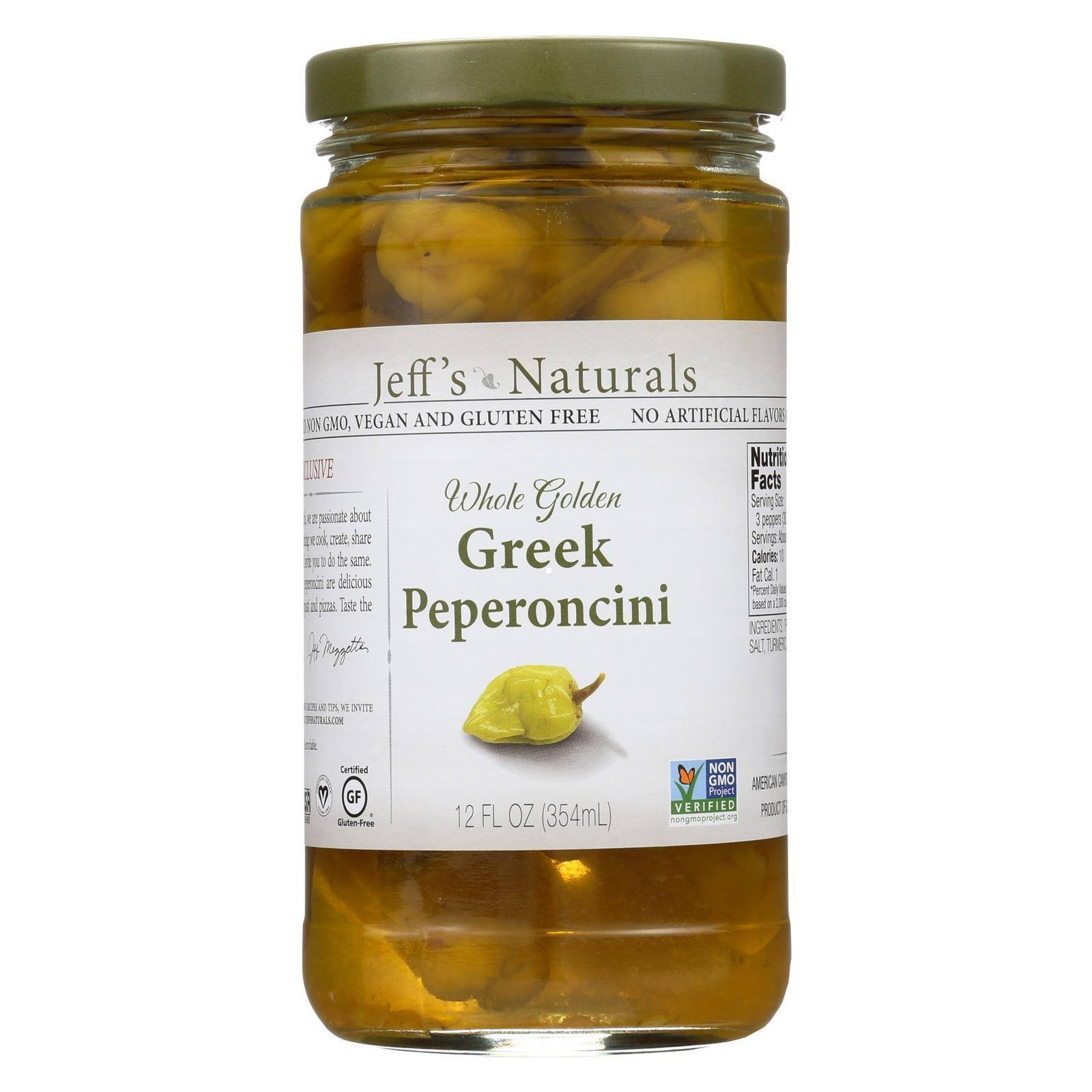 Jeffs Naturals Pepperoncini, Whole Golden Greek - 12 fl oz