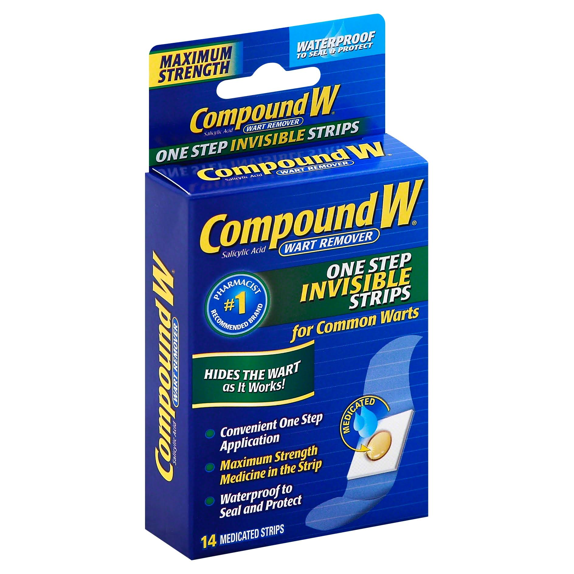 Compound W One Step Invisible Strips Wart Remover - 14 Medicated Strips