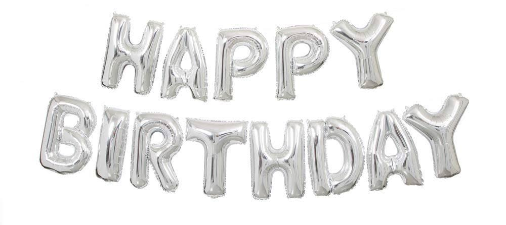 Unique Party Celebration Happy Birthday Balloon Banner Kit - Silver, 14""