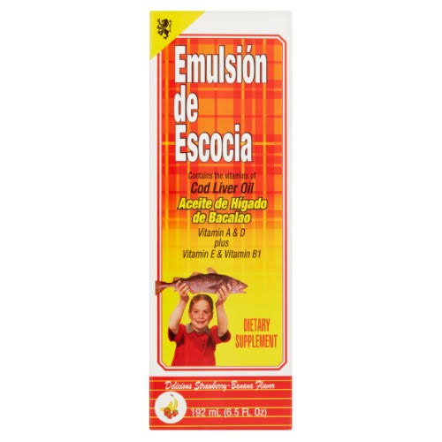 Emulsion De Escocia Cod Liver Fish Oil Dietary Supplement - Strawberry and Banana, 6.5oz