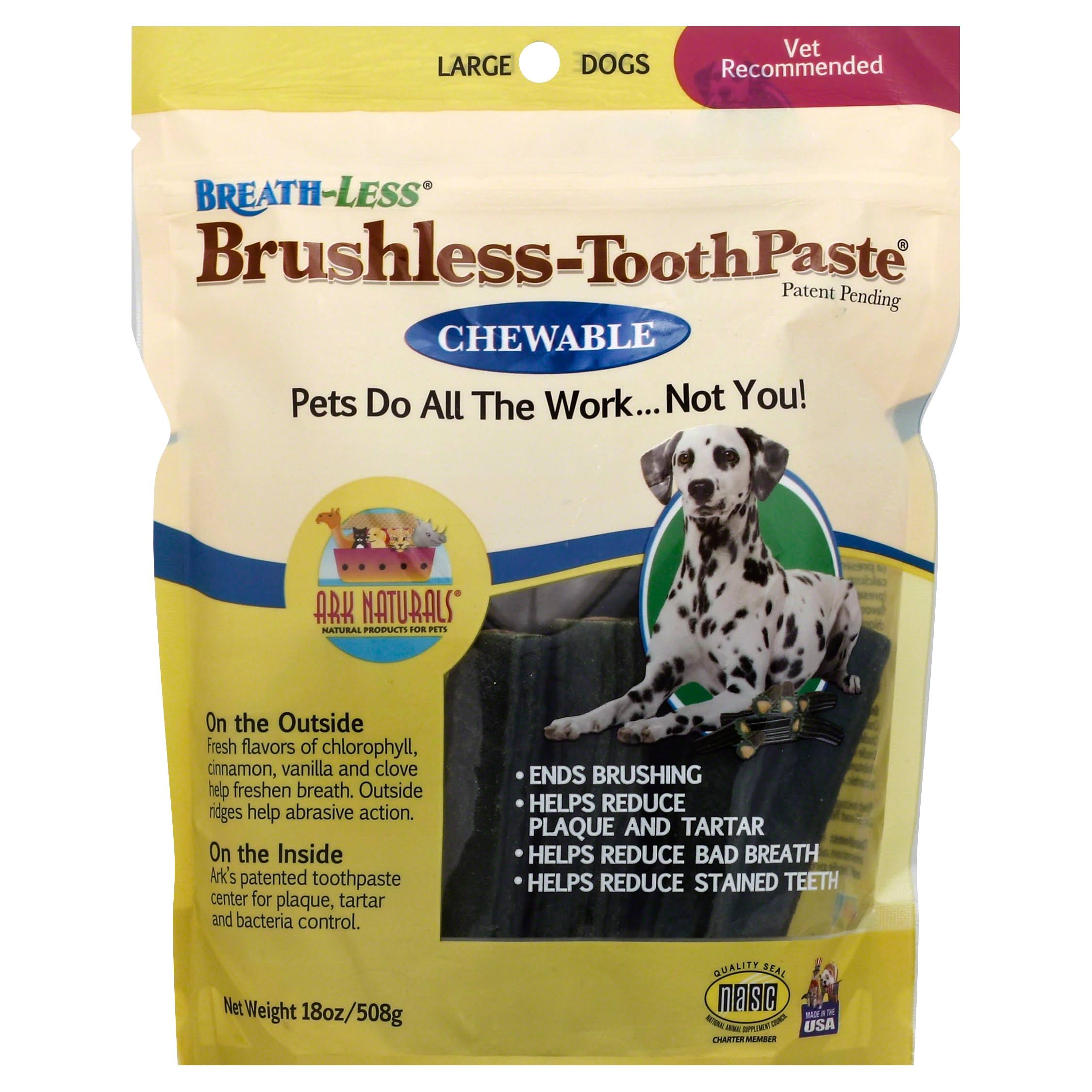 Ark Naturals Breathless Brushless Dog Toothpaste - Chewable, Large, 18oz