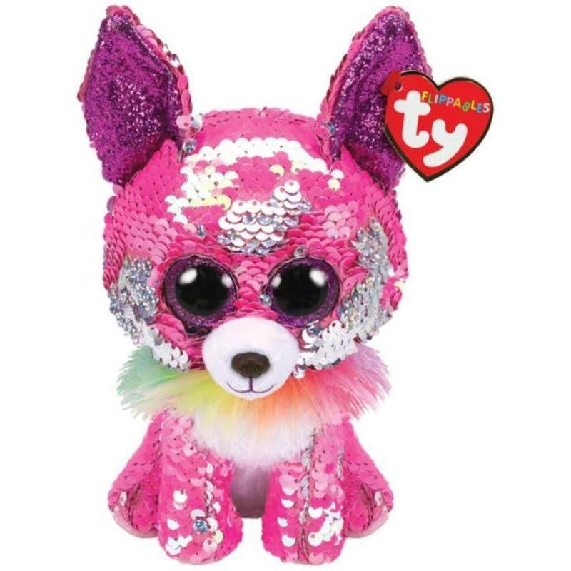 Ty Flippables Sequin Plush - Charmed The Pink Chihuahua Regular Size 6 in