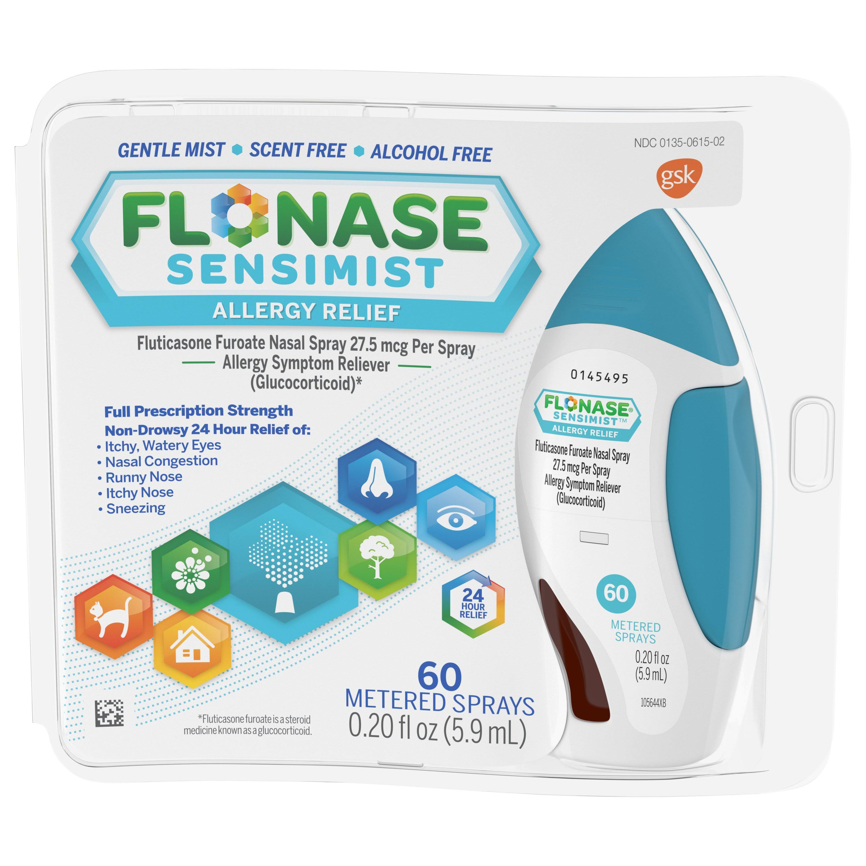 GSK Flonase Sensimist Allergy Relief Metered Sprays - 0.34oz, 60 Sprays