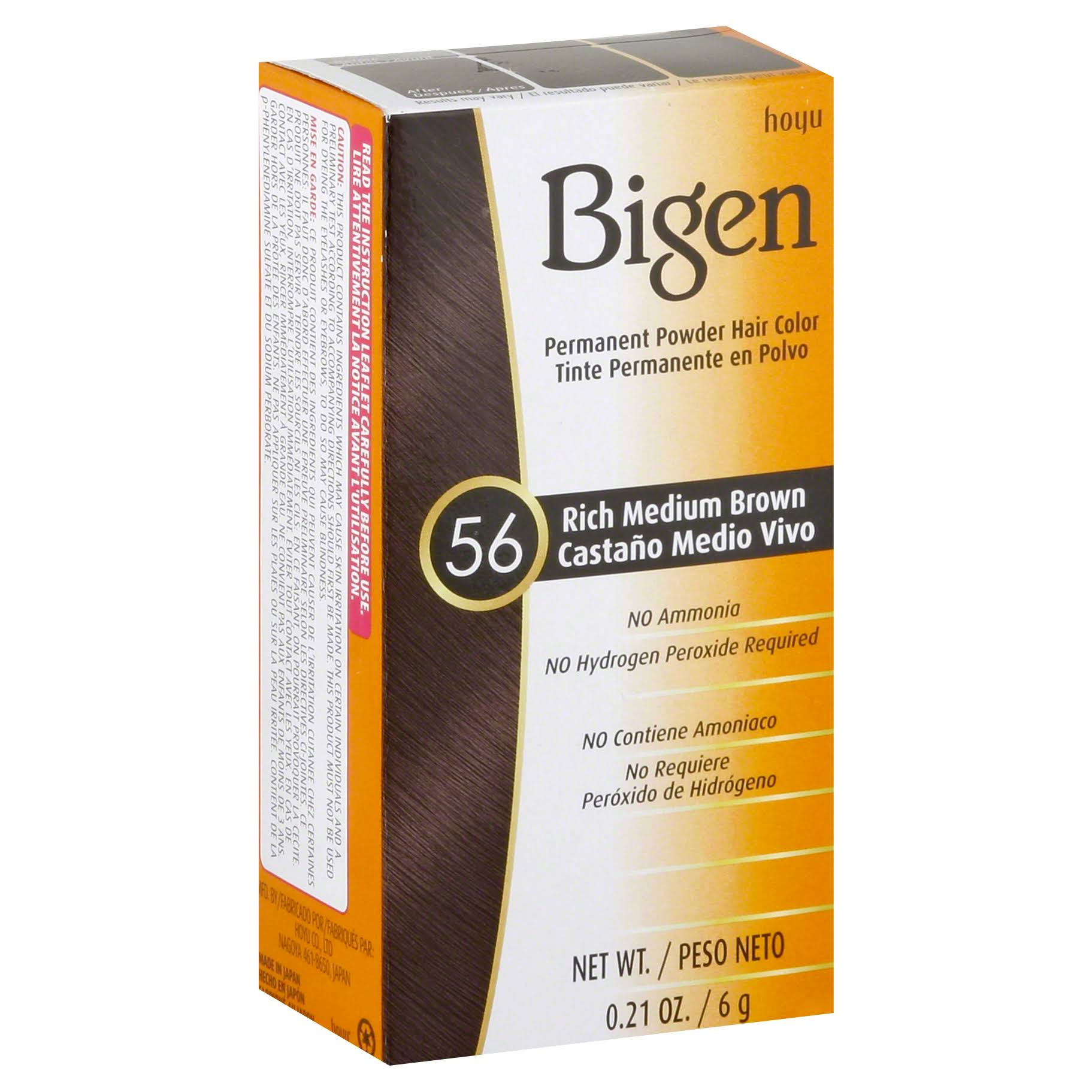 Hoyu Bigen Permanent Powder Hair Color - 56 Rich Medium Brown, 0.21oz