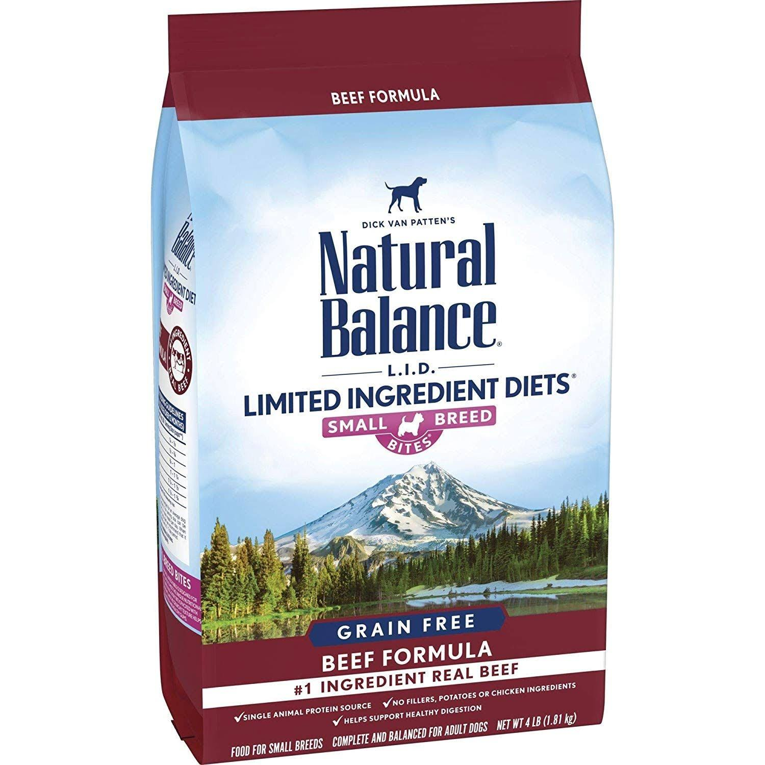 Natural Balance L.I.D. Limited Ingredient Diets Grain Free High Protein Beef Formula Small Breed Bites Dry Dog Food (4 lb)