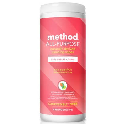 Method Cleaning Wipes, Naturally Derived, Pink Grapefruit, All-Purpose - 30 wet wipes, 6.17 oz